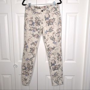 Women's Low rise floral print jeans with sequins